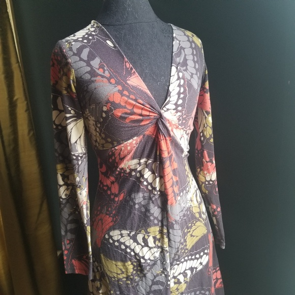 CAbi Dresses & Skirts - CAbi Long Sleeve Dress Style 217 Butterfly Print